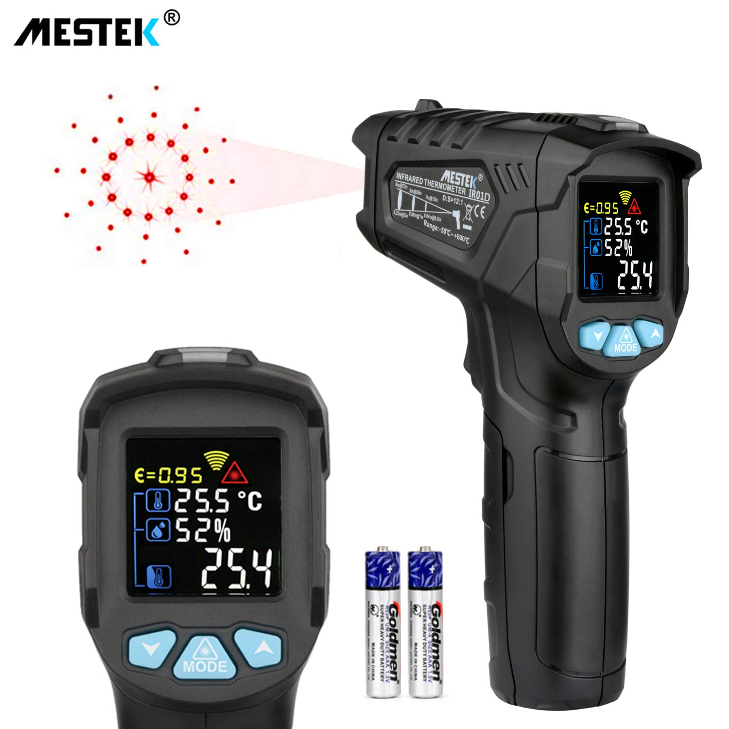 Infrared Thermometer Temperature Gun MESTEK Non-Contact Laser Digital Thermometers with Color LCD Screen -58℉~1472℉(-50℃~800℃) Adjustable Emissivity Humidity Alarm Setting Max/Hold Indoor Outdoor Home