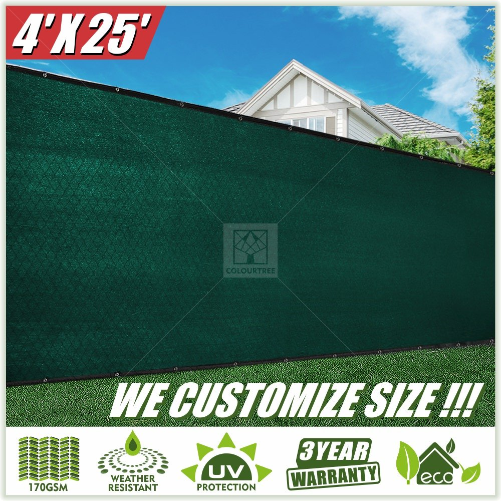ColourTree 4' x 25' Green Fence Privacy Screen Windscreen Cover Fabric Shade Tarp Netting Mesh Cloth - Commercial Grade 170 GSM - Heavy Duty - 3 Years Warranty - Custom by ColourTree