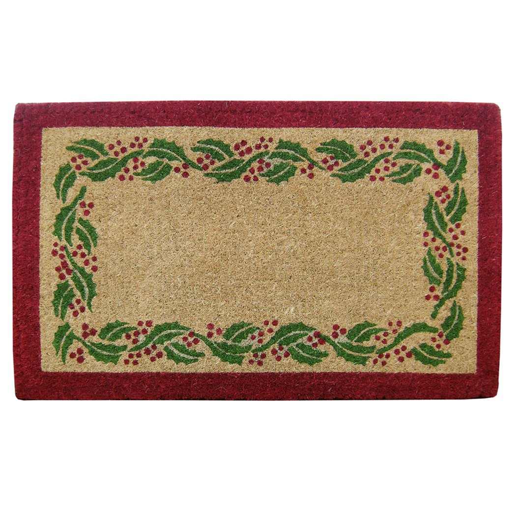Nedia O2244 Not Applicable Heavy Duty 22 x 36 Coco Mat Holly Ivy Border, Plain Nedia Home