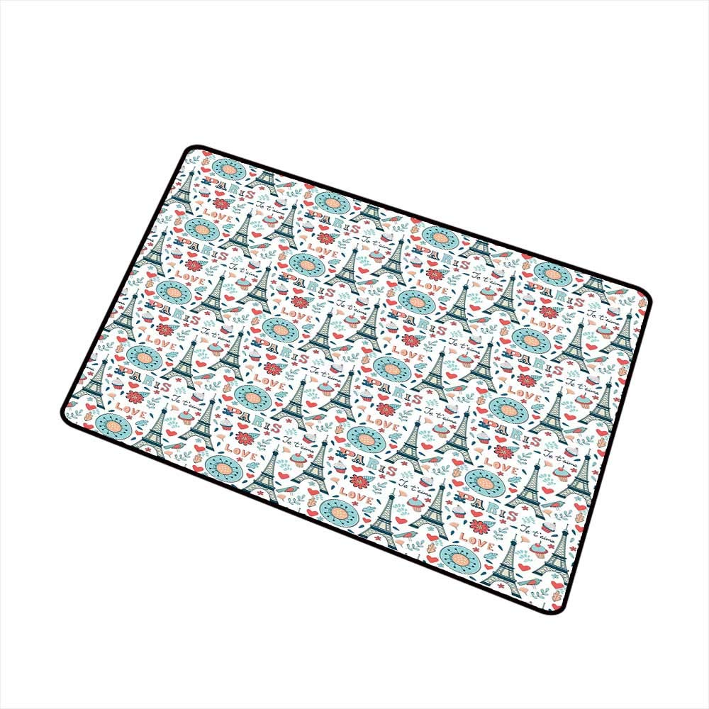 RelaxBear Eiffel Universal Door mat Retro Colored Cheerful Composition with Floral Figures Cupcakes and Je`Taime Print Door mat Floor Decoration W29.5 x L39.4 Inch Multicolor by RelaxBear