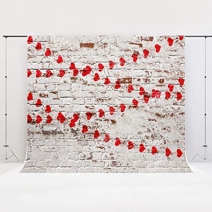 Kate 7/×5ft Brick with Flower Photography Background Floral Backdrop Cotton Cloth Bridal Shower Photo Studio Prop for Wedding,Birthday Party,Children Backdrop