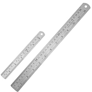 Outus Stainless Steel Ruler Kit Metal Ruler with Conversion Table, 12 Inch and 6 Inch