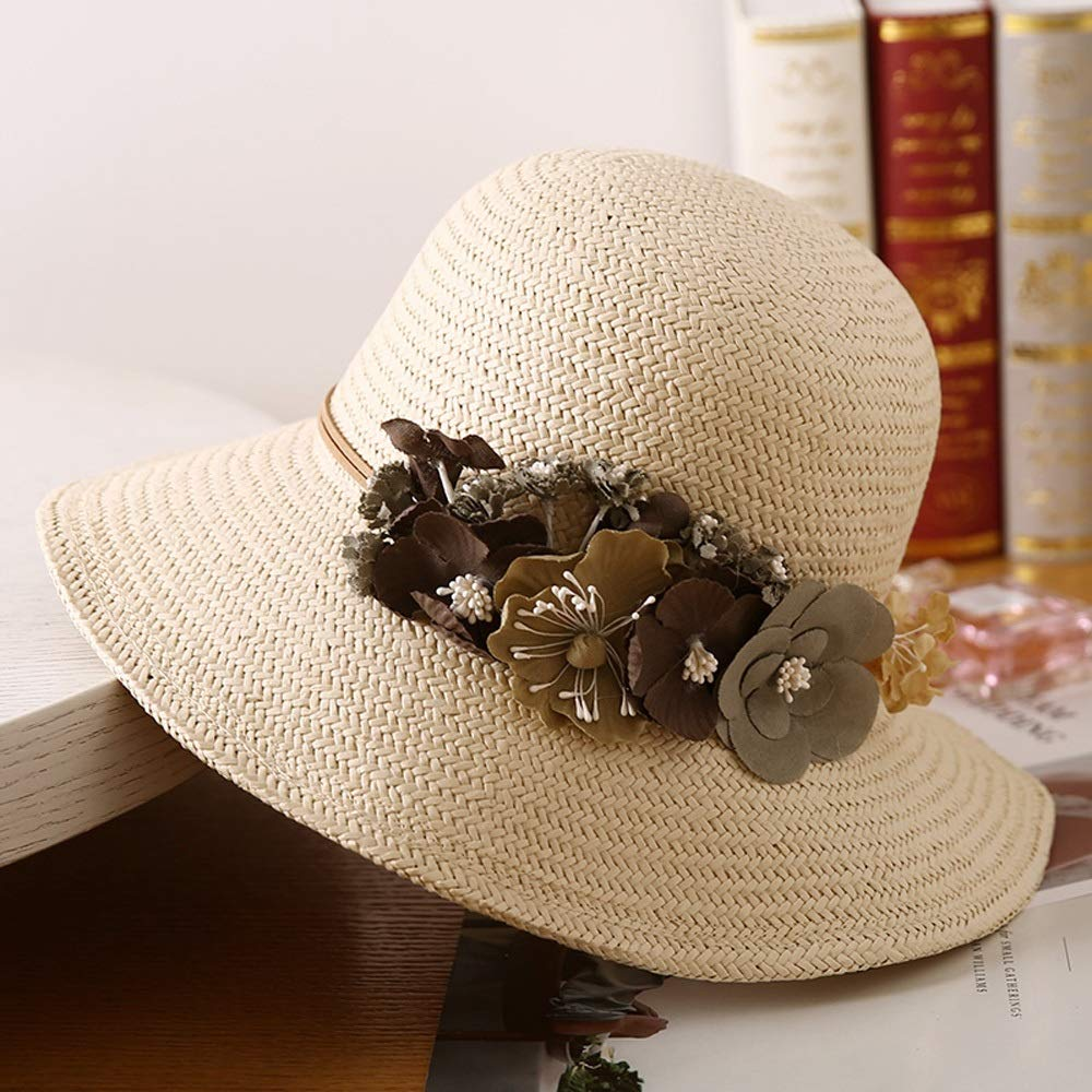 YD Hat  Women's Straw Hat Foldable Summer Woven Sunhat Travel UV Predection Beach Hat Sun Hat (4 colors)    (color    4)