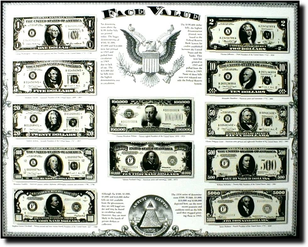 Old US Currency Money Dollar Bills Wall Decor Art Print Poster (16x20)