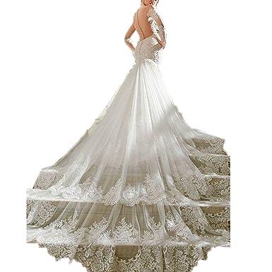 Ainisha Women\'s Elegant Long Sleeves Mermaid Wedding Dress Beads ...