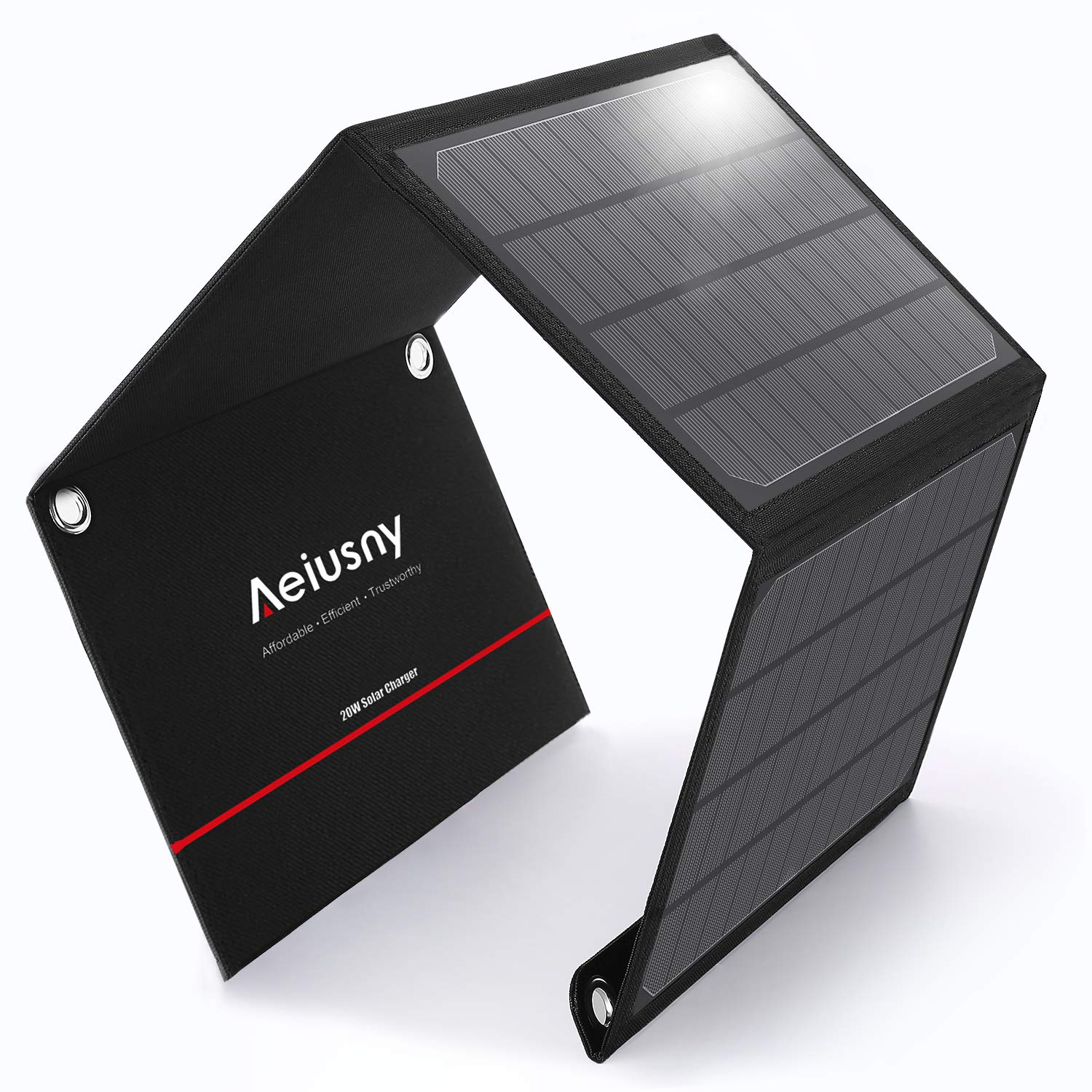 Aeiusny 20W Solar Charger Foldable Solar Panel with 3 USB Ports Waterproof Camping Travel Compatible for Battery Power Bank, iPhone Xs/XR/X/8P/8/7P/7, iPad, Galaxy S9 S8, Nexus, LG, Any 5V USB Devices by Aeiusny