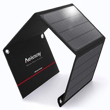 Amazon.com: Aeiusny - Cargador solar de 20 W, panel solar ...