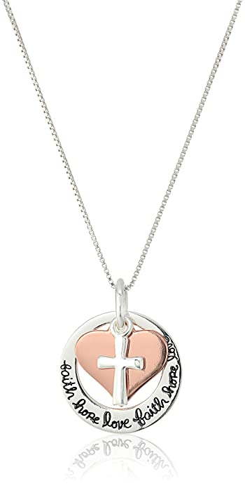 Amazon CollectionCollar con colgante de cruz de plata de ley y oro rosa diseño de'Faith Hope Love' 45 7 cm
