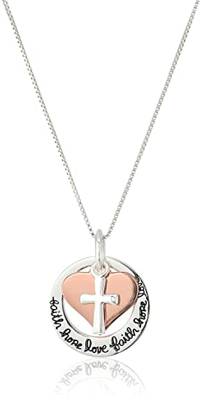 Amazon two tone sterling silver and rose gold flashed faith two tone sterling silver and rose gold flashed quotfaith hope lovequot aloadofball Choice Image