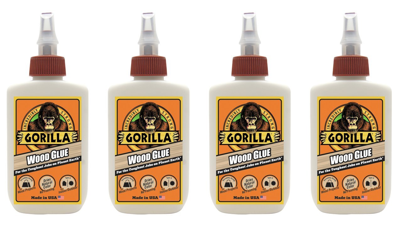 Gorilla Wood Glue, 4 ounce Bottle, (4 Pack)