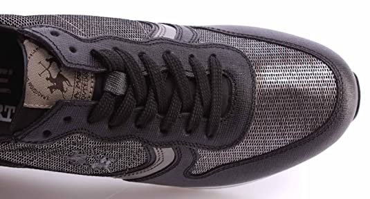 La Martina Zapatos Mujer Sneakers L2140246 Saffiano Nero Miraval Argento Italy d3TdMVzhBm