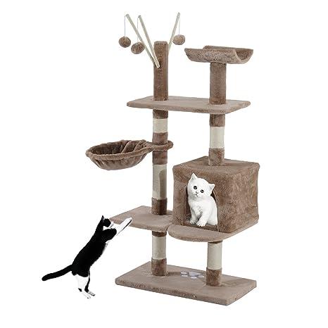 PawHut Árbol de juegos para gato (varios niveles, bolas colgantes, 60 x 35