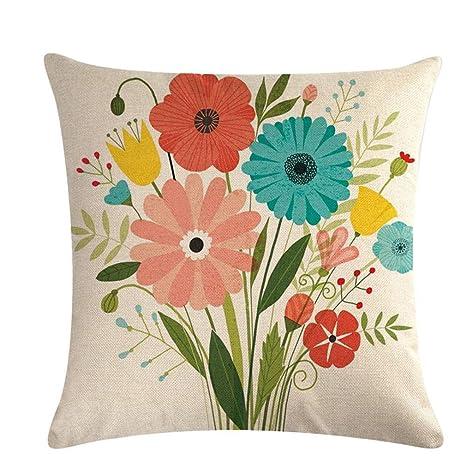 L_shop - Funda de cojín Cuadrada, diseño Floral, Ideal para ...