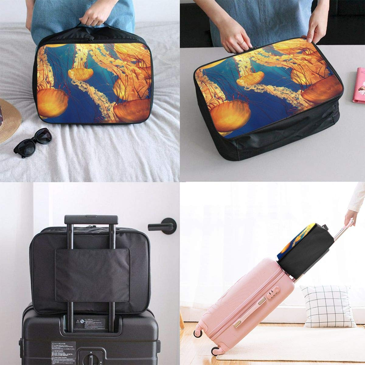 Travel Luggage Duffle Bag Lightweight Portable Handbag Golden Jellyfish Pattern Large Capacity Waterproof Foldable Storage Tote