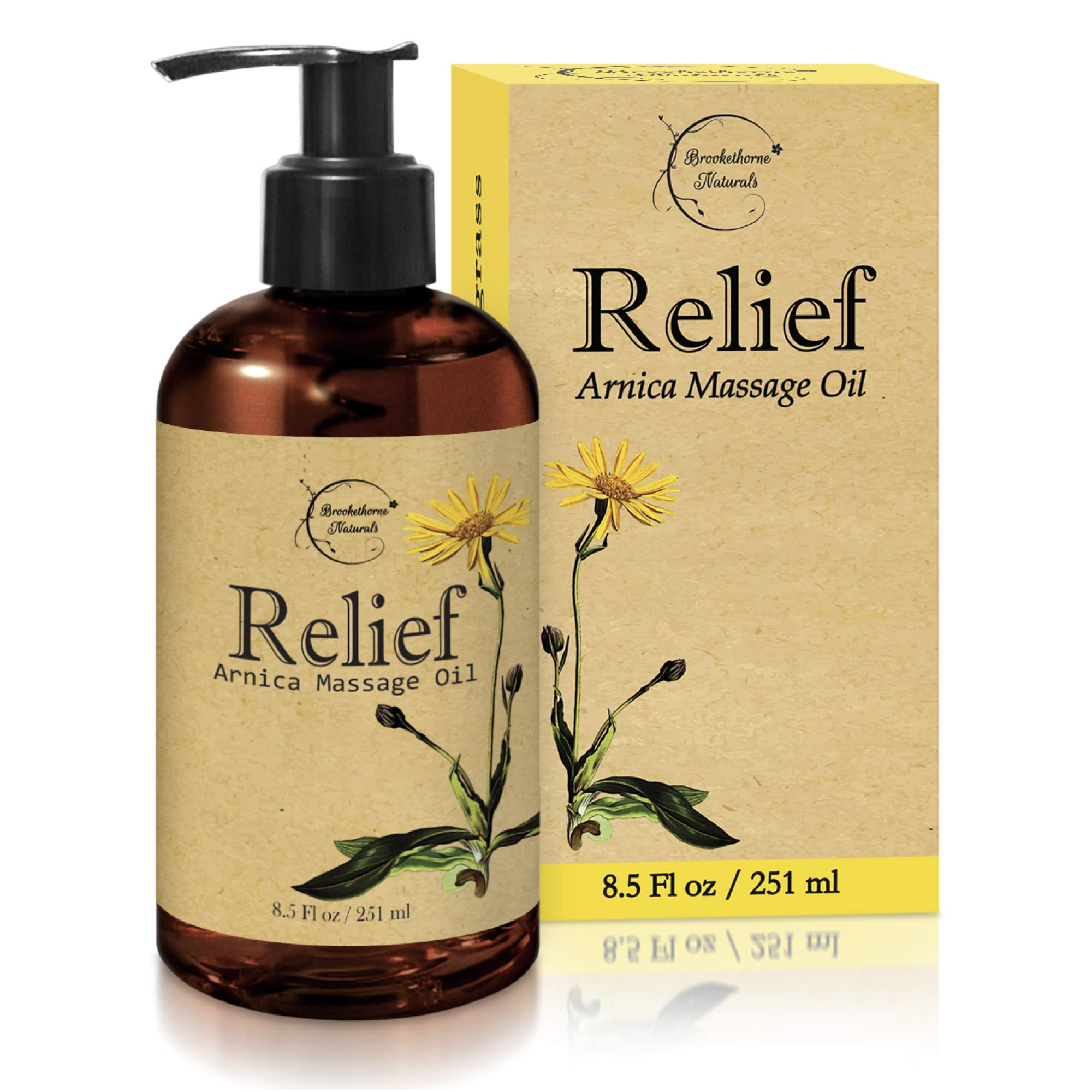 Relief Arnica Massage Oil - Great for Sports & Athletic Therapeutic Massage - All Natural - Arnica Montana for Sore Muscle Relief. Contains Sweet Almond, Jojoba, Grapeseed & Essential Oils 8.5oz by Brookethorne Naturals
