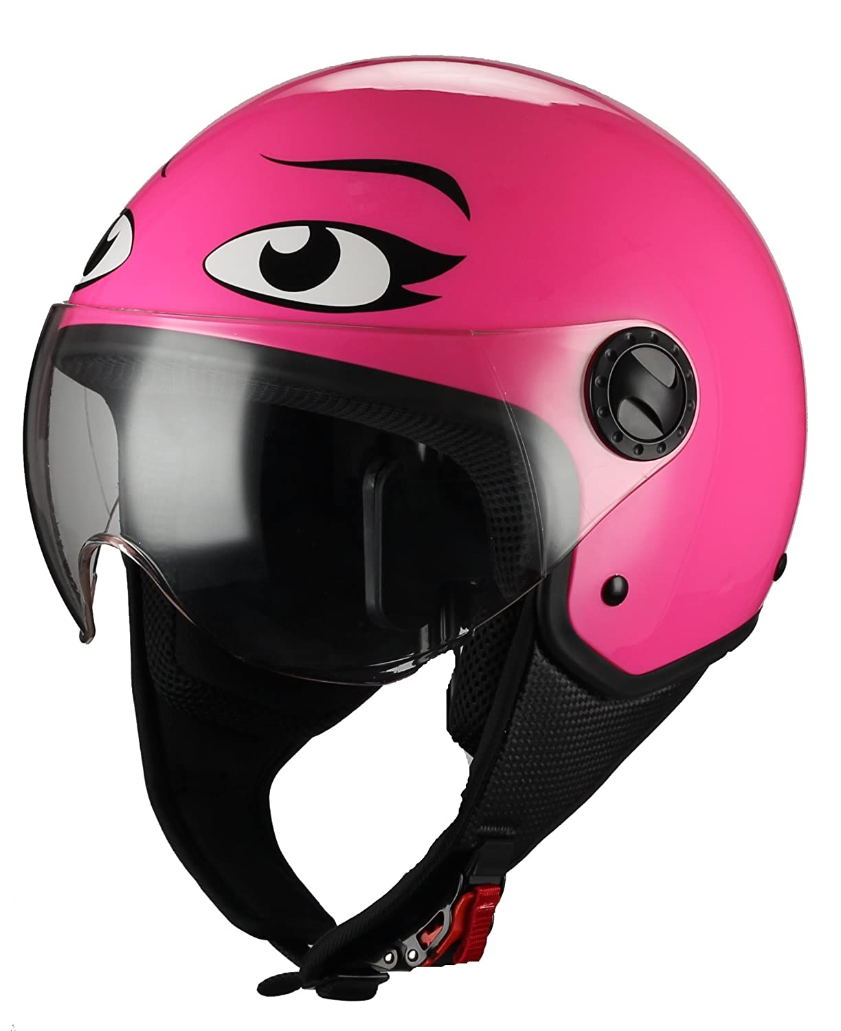 Amazon.es: BHR Casco Moto Demi-Jet Linea One 801, Eyes Rosa, M (57/58 cm)