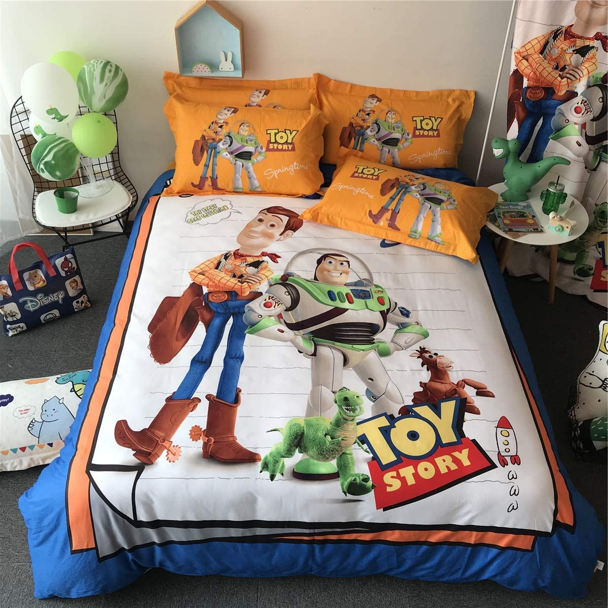 "Cenarious Toy Story Woody Buzz Lightyear Cartoon Style Duvet Cover Set Cotton Flat Sheet Bed Cover - 3Pcs Bedding Set - Twin Flat Sheet Set - 61""x80"" - 155x205cm"