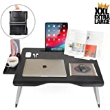 Cooper Mega Table [XXL Folding Laptop Desk] for Bed & Sofa | Couch Table, Bed Desk, Laptop, Writing, Study, Eating Storage, Reading Stand (Black Onyx)