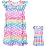 Unicorn/Mermaid Nightgowns Matching Girls&Dolls Summer Flutter Sleeve Pajamas