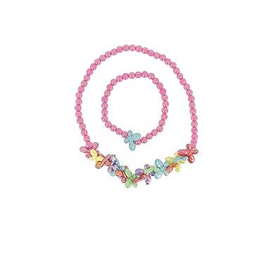 magasin discount grande remise pour acheter mieux Parure Bijou Enfant en Plastique Collier et Bracelet - Elastique - Perles  Papillons - Multicolore - Bijoux Petite Fille
