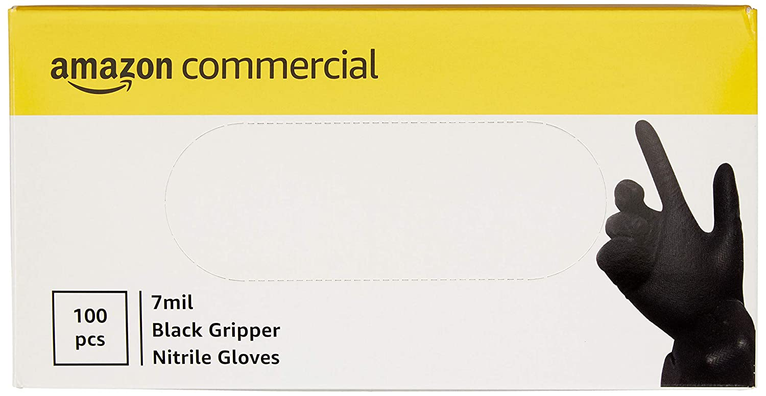Black Gripper 240mm 100 per Pack Size XL Commercial Powder Free Disposable Nitrile Gloves 7 mil