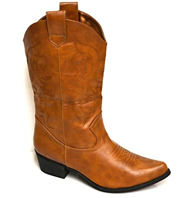 Amazon.com | Candy's Womens Cowboy Boots - Light Brown | Mid-Calf