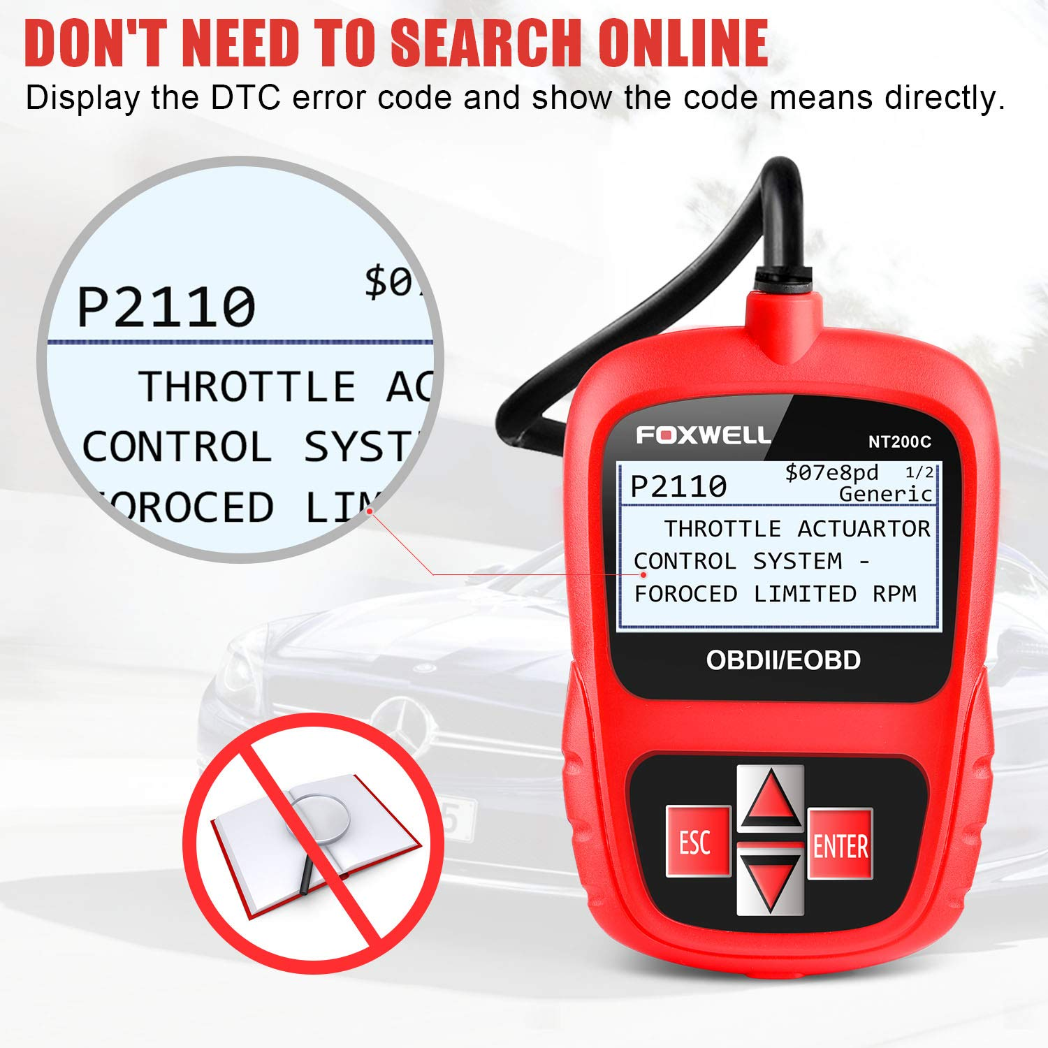 Amazon.com: FOXWELL OBD2 Scanner Car Engine Fault Code Reader CAN OBD II  Automotive Diagnostic Scan Tool Obdii NT200C Red: Automotive