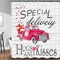 Cortina de ducha de San Valentín, diseño de camión rojo, con globos rojos en camión rojo en madera regalos para niñas…