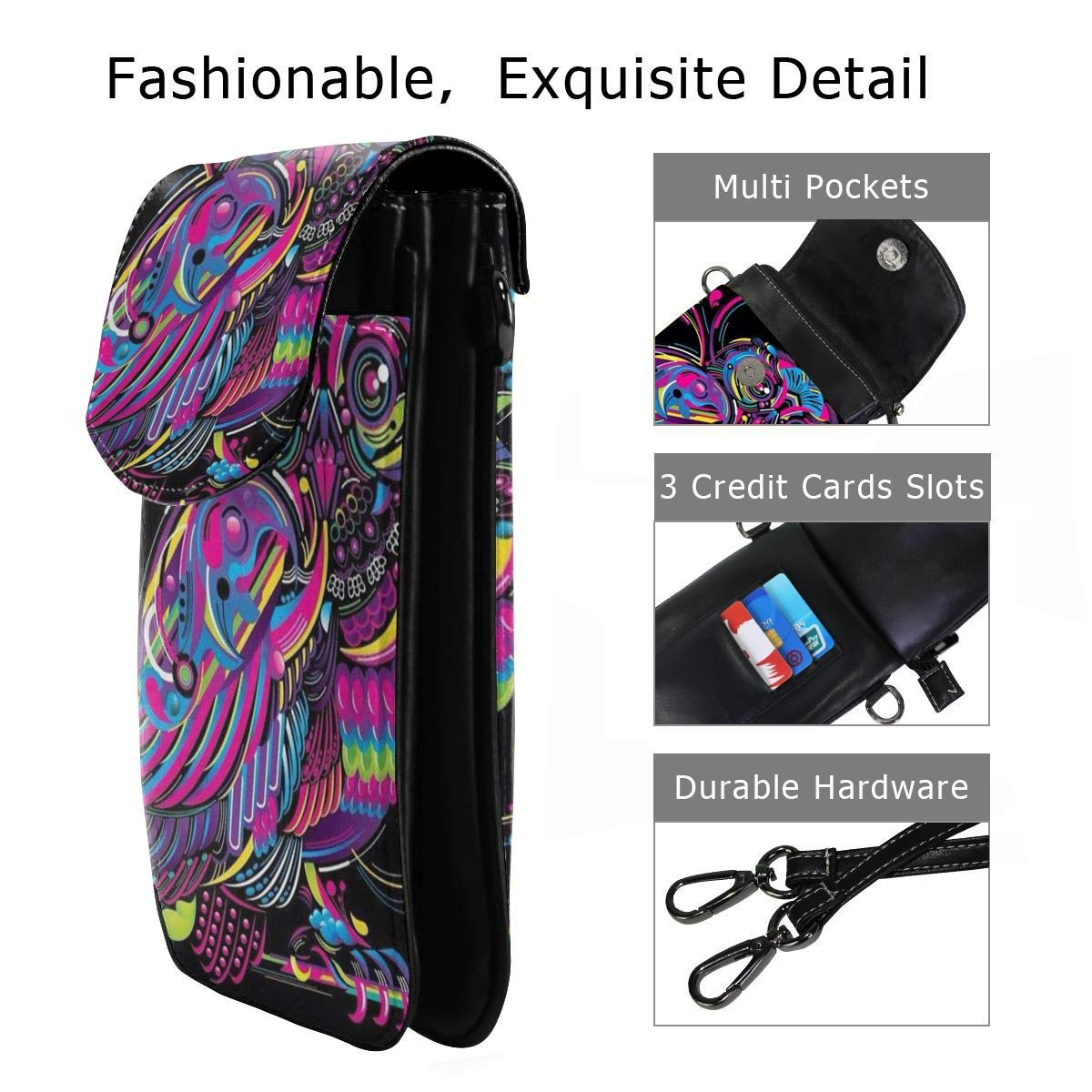 an Interesting Owl Cell Phone Purse Women PU Leather Multicolor Handbag with Credit Card Slots