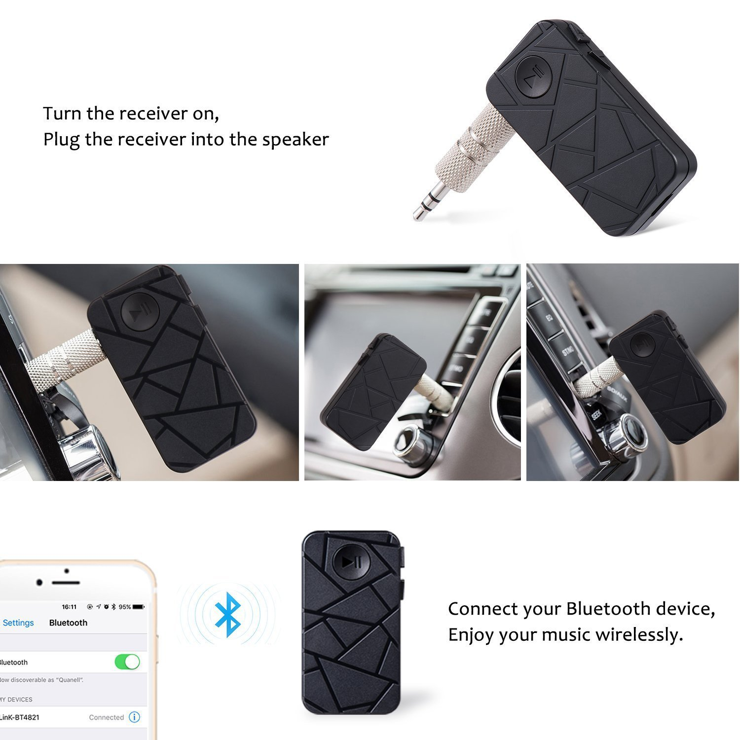 Portable Wireless Audio Adapter 3.5mm Bluetooth 4.1 Aux Stereo Output Built-in Microphone Hands-Free Car Kits for Home//Car Stereo Audio Music Streaming Sound System 3010 Cllena Bluetooth Receiver