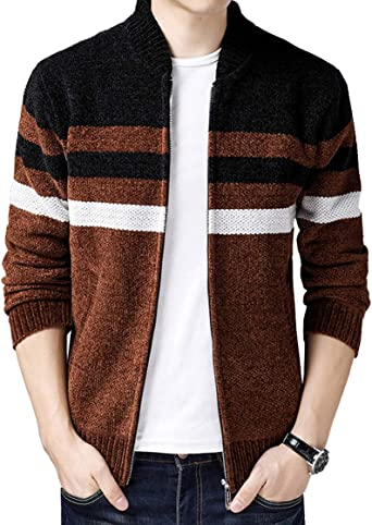 Fuwenni Mens Casual Zip Knitted Cardigan Sweaters