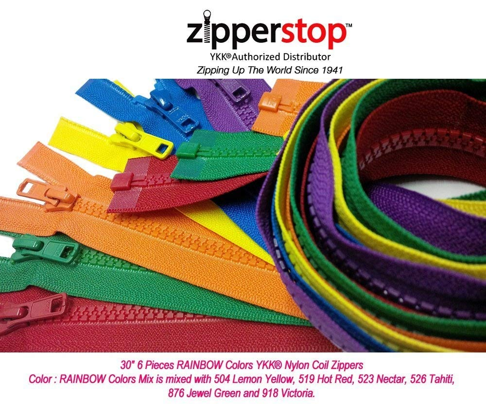 523 526 519 Zipperstop Wholesale YKK/®- 30 Inch Vislon Sport Jacket Zippers for All Special Occasions YKK/® #5 Molded Plastic Separating in Rainbow Colors Mix Is Mixed with 504 876 and 918 Made in USA