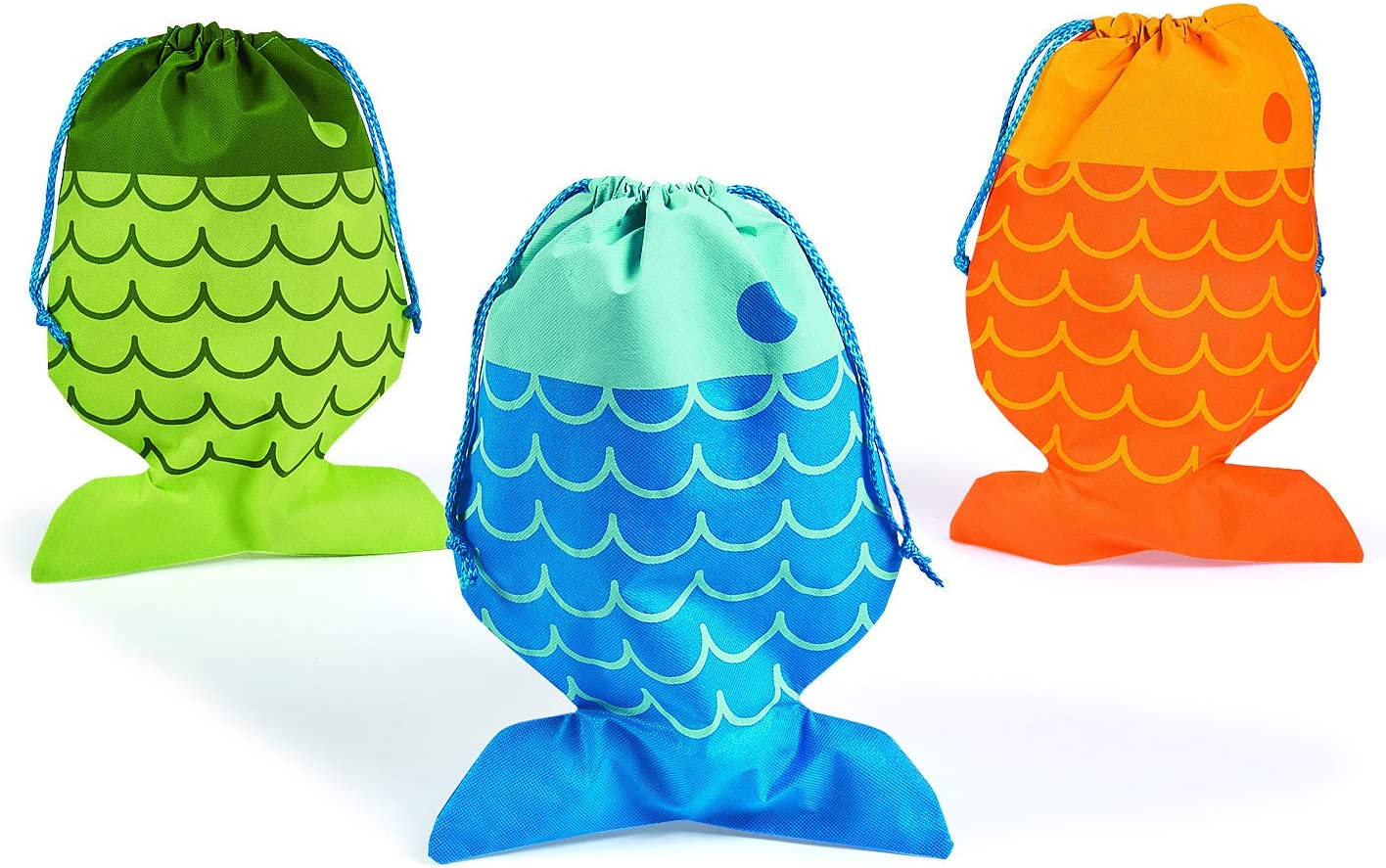 Little Fisherman Drawstring Bags (12 Bags) Party Favors, VBS Supplies, Camping, Boys & Girls Fishing Novelty Toys and Accessories