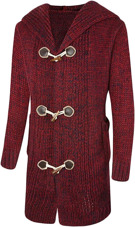 Robert Reyna Unique Mens Warm Knitted Jacket Hoodie Longline Sweater Cardigans