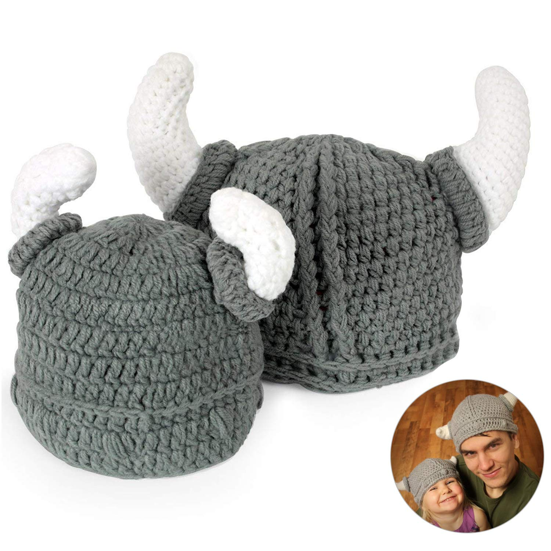 5ed22e568 kekai Baby Handmade Knitting Viking Hat Girl Boy Dual Balls Warm ...