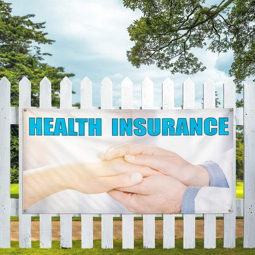Vinyl Banner Multiple Sizes Health Insurance A Advertising Printing Business Outdoor Weatherproof Industrial Yard Signs 10 Grommets 60x144Inches