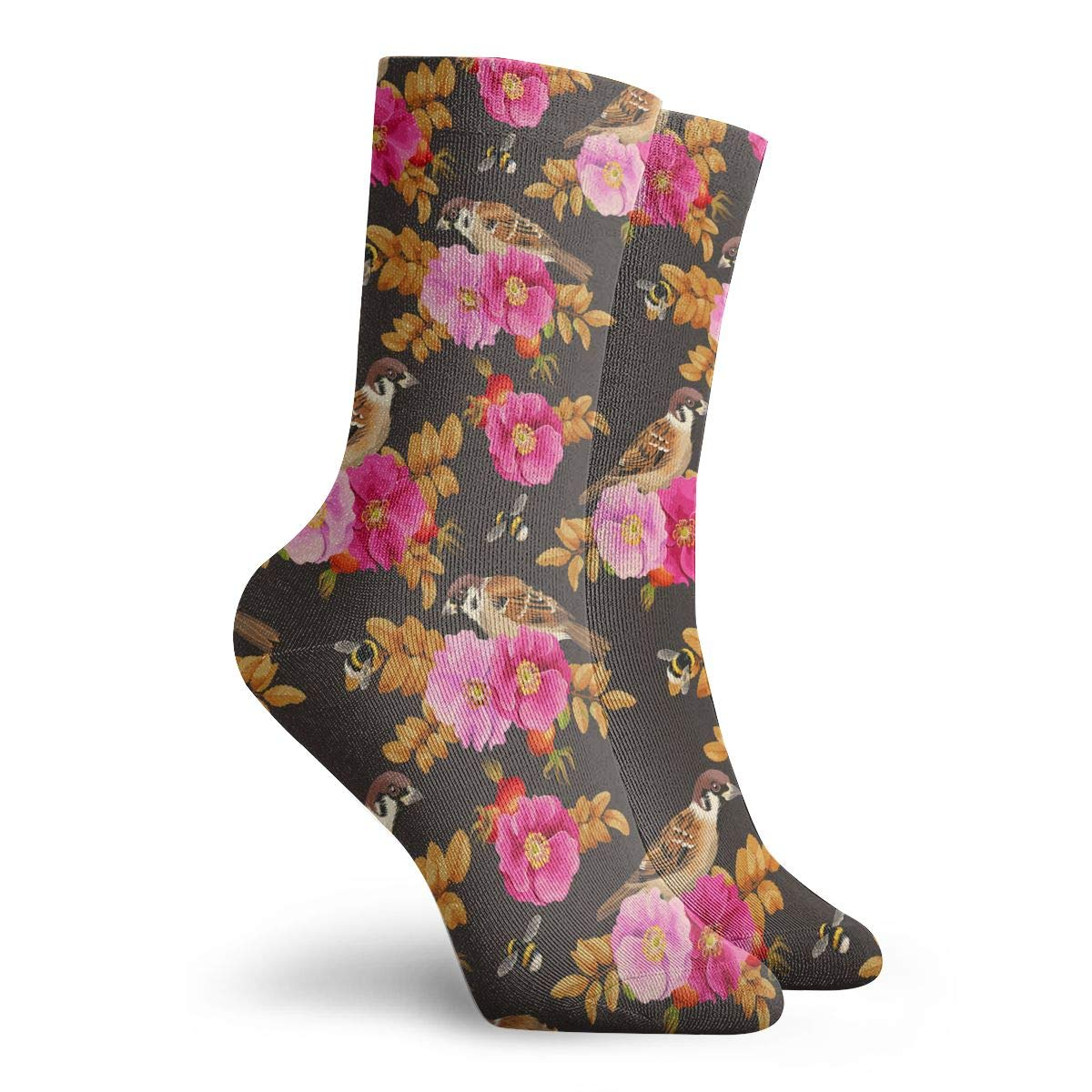 Mens Fashion Performance Polyester Socks Dog-rose And Bird Casual Athletic Crew Socks.