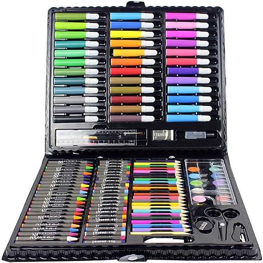 QUEENBACK Herramienta de Dibujo, Kit con Caja de Pintura, Marcador artístico de Acuarela, lápiz de Colores para niños, Regalo de 150 Unidades: Amazon.es: Hogar