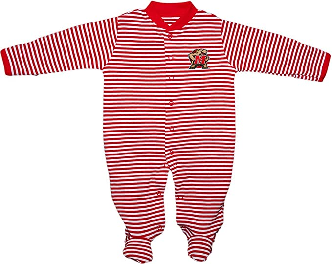 Creative Knitwear University of Maryland Terps Striped Newborn Footed Baby Romper