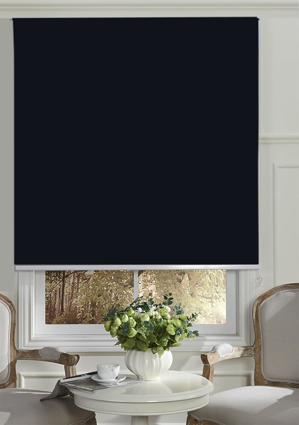 Beryhome Cristal Blackout Room Darkening Roller Shades/Blinds With Chain Cord. 20 Beautiful Colors Available. (W25''xH68'', Black) by Beryhome (Image #1)