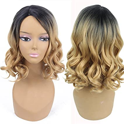 OHQ Peluca Mujeres Moda SeñOra Gold Gradient Short Curls Hair Cosplay Party Peluca Postizos Sombreros Champú