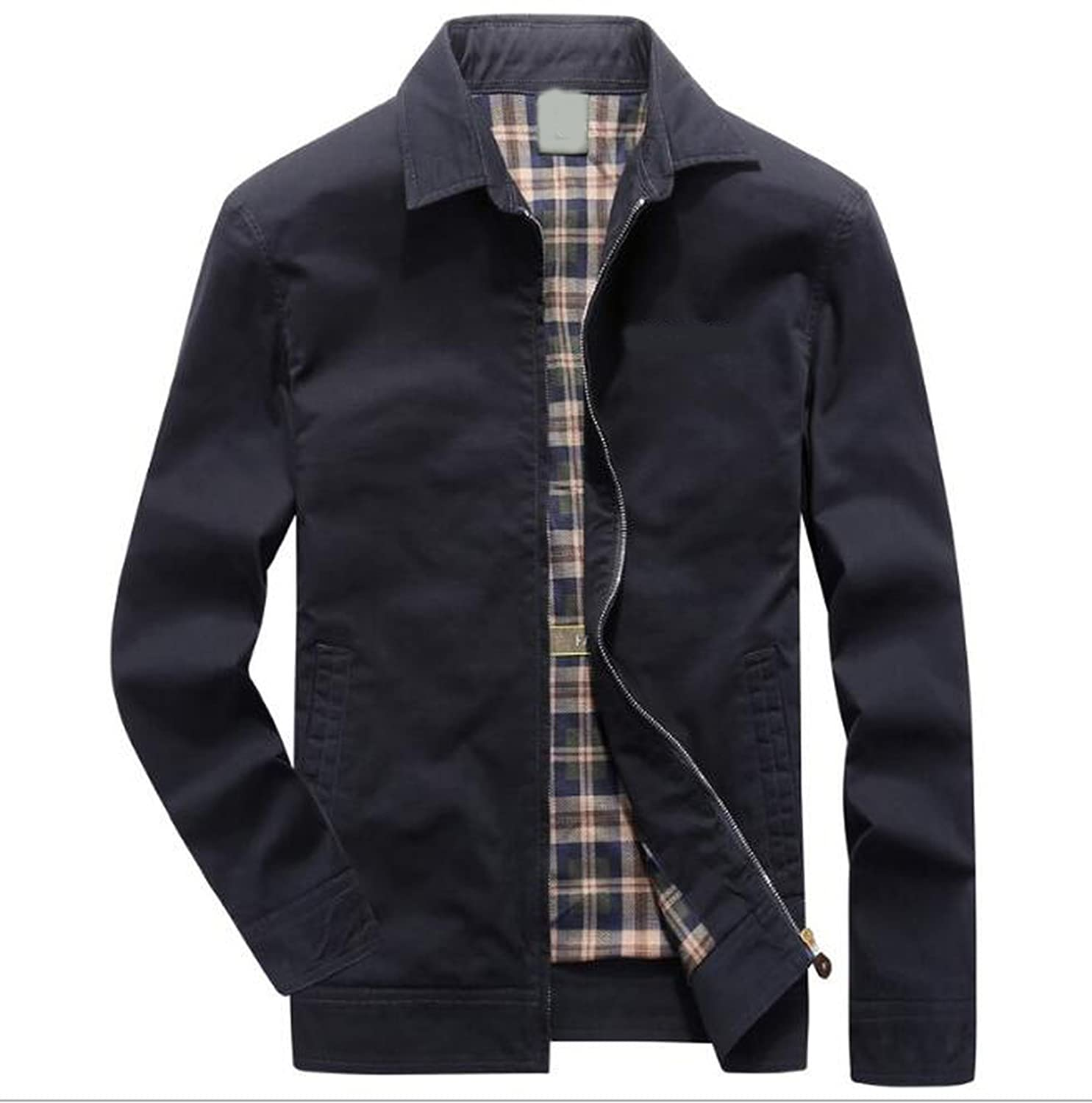 Huainsta Summer Turn Down Collar Solid Fathers Jacket at Amazon Mens Clothing store:
