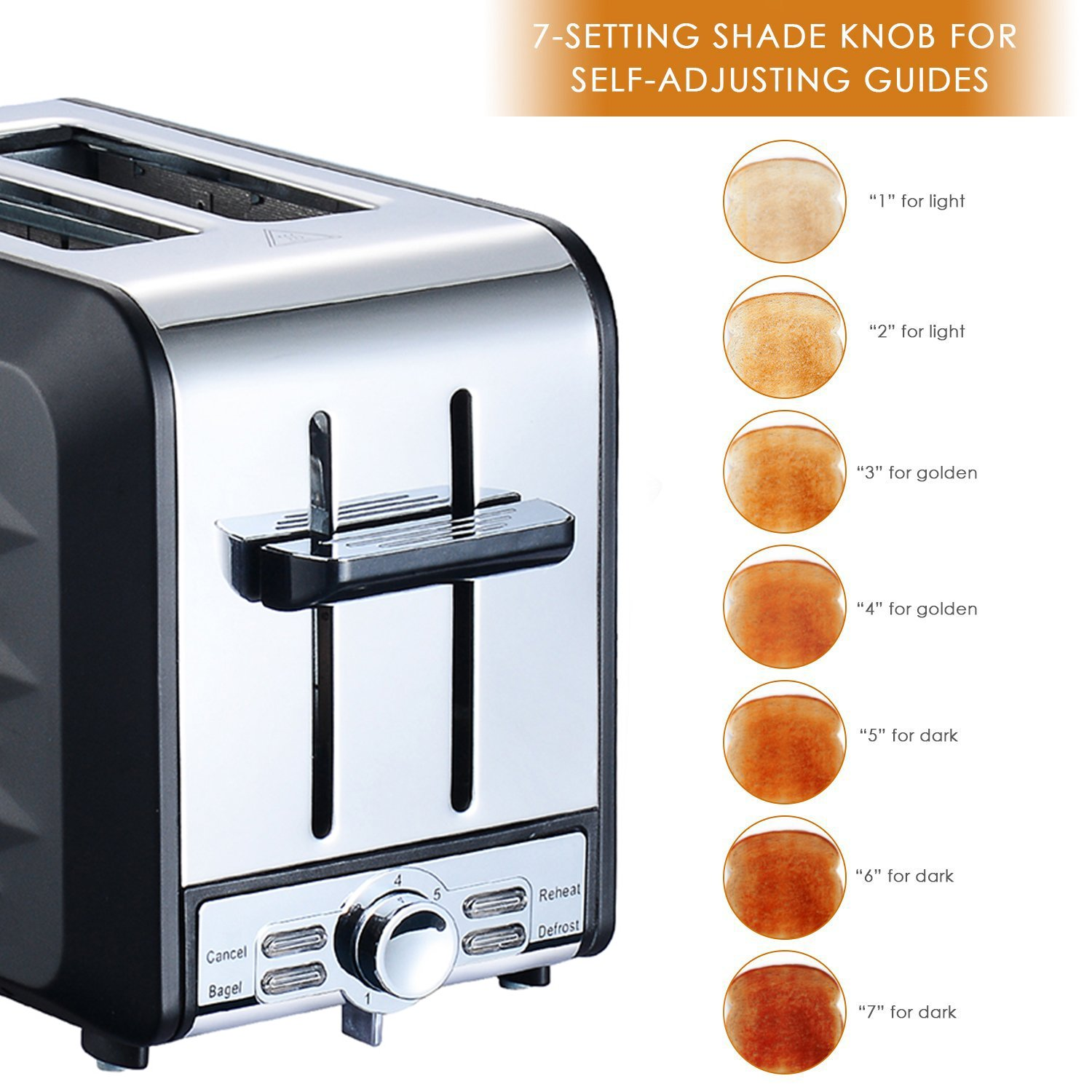 Fortune Candy Stainless Steel 2 Slices toaster, black toaster With Extra Wide Slot, 7-Shade Control by Fortune Candy (Image #3)
