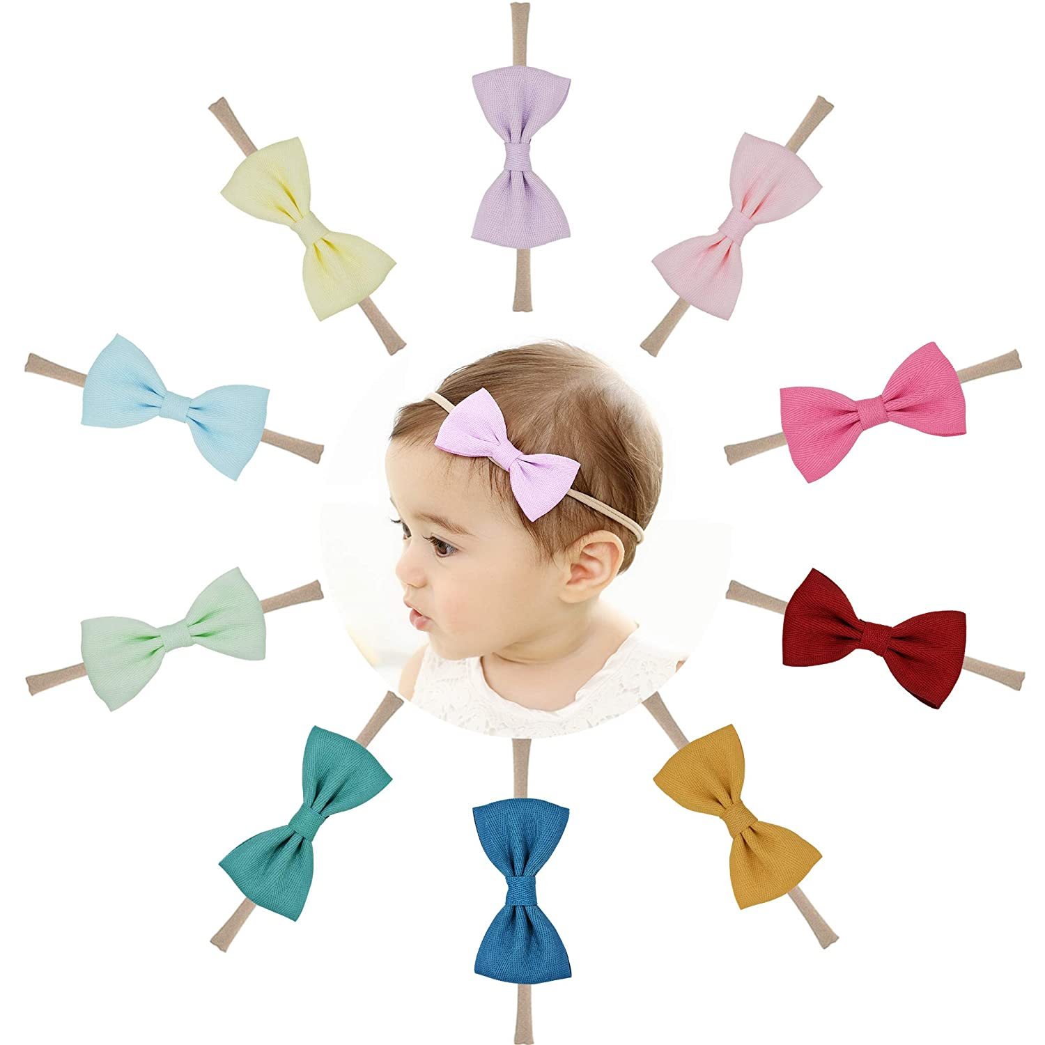 Prohouse 10PCS Baby Nylon Headbands Hairbands Hair Bow Elastics for Baby Girls Newborn Infant Toddlers Kids 729129326821