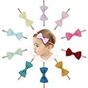 Prohouse Baby Nylon Headbands Hairbands Hair Bow Elastics for Baby Girls Newborn Infant Toddlers Kids (Cotton Bows-10PCS)