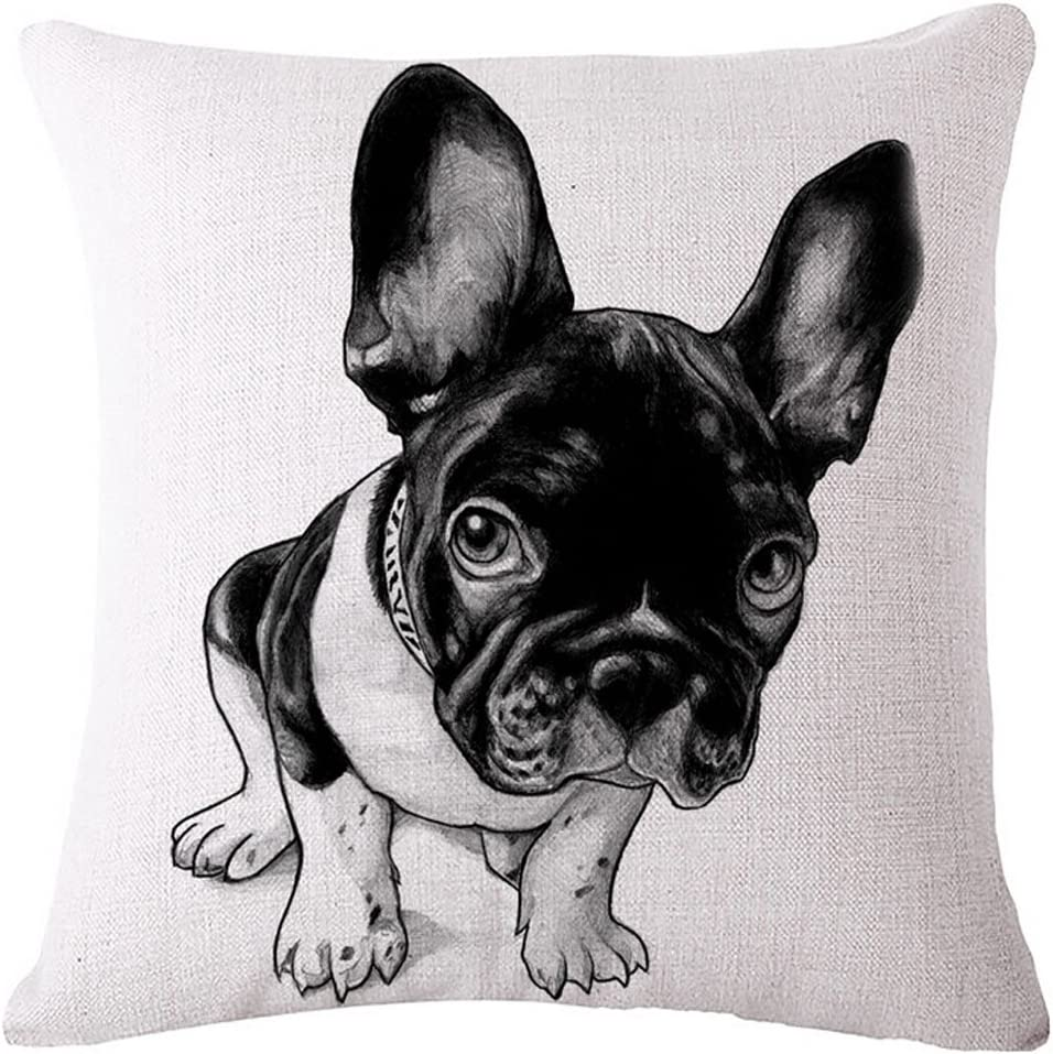 Diorama 17 7x17 7 Inch 45x45 Cm Cotton Linen Square Personalized Decorative Throw Pillow Case Cushion Cover Lovely French Bulldog Series Cushion Covers Pillow Cases 002 Home Kitchen