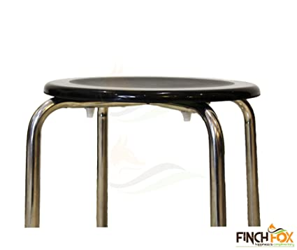Finch Fox Glossy Fiber Stool with Heavy 1-inch Stainless Steel Pipe, Anti Skid Buffer (Brown)