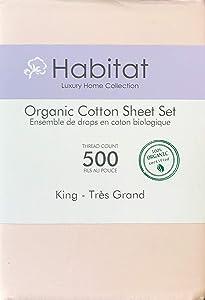 Habitat Organic Cotton Solid Light Pink 4pc King Sheet Set Luxury Fine Linens 500 Thread Count