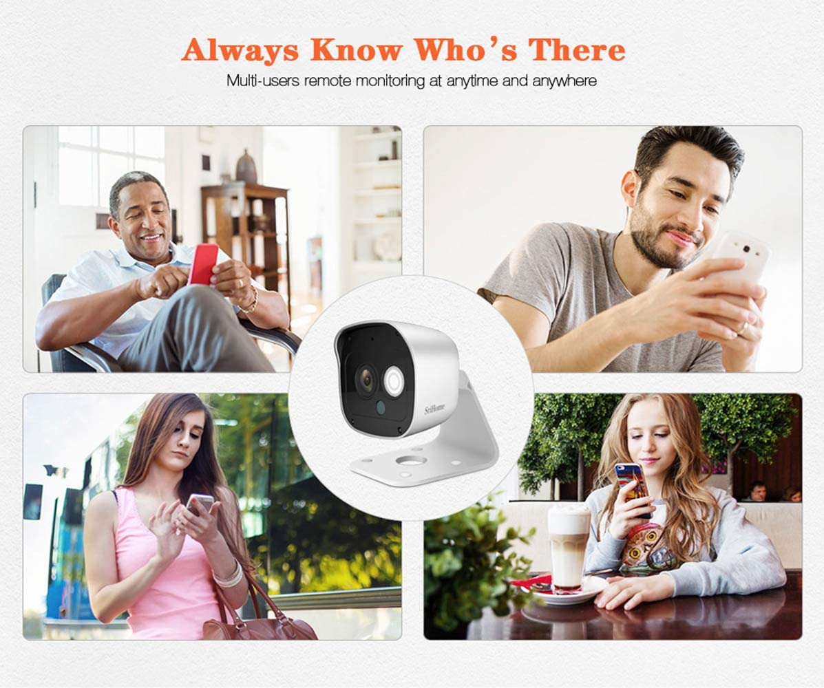 White SriHome SH029 Security Camera 1080P Surveillance WiFi Camera with Night Vision Two-Way Audio 2.4Ghz Wireless Home Outdoor Network IP Camera 3MP