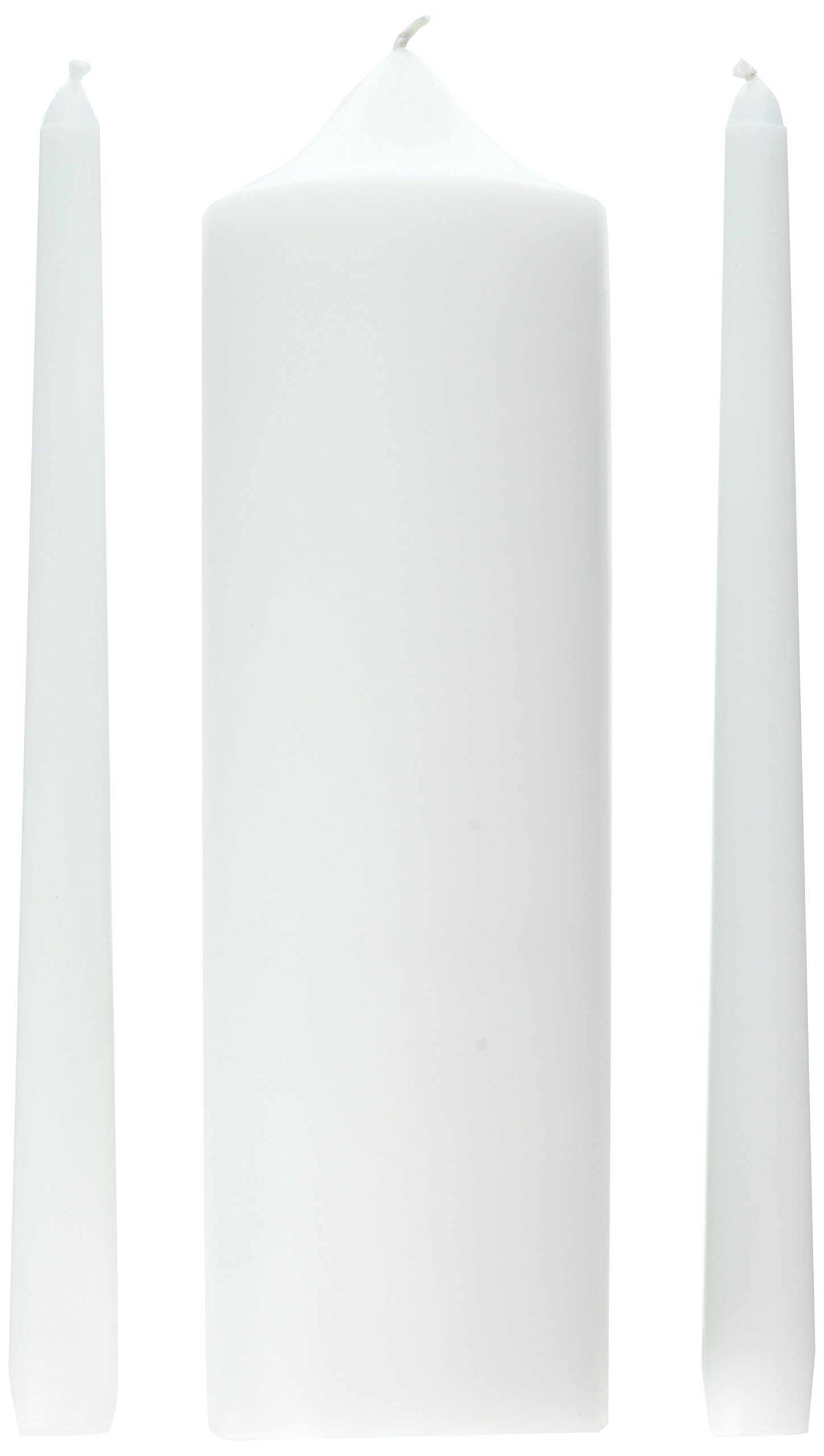 Wedding Accessories 3-Piece Unity Candle Set, 10-Inch, White